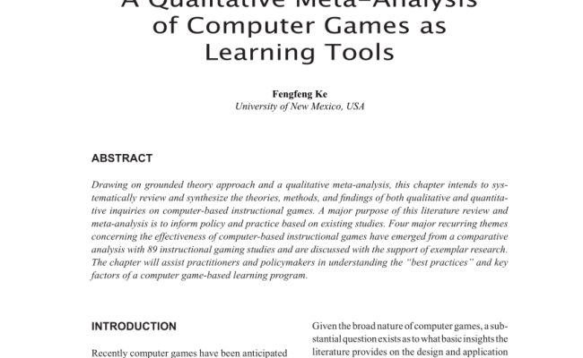 Pdf Chapter I A Qualitative Meta Analysis Of Computer