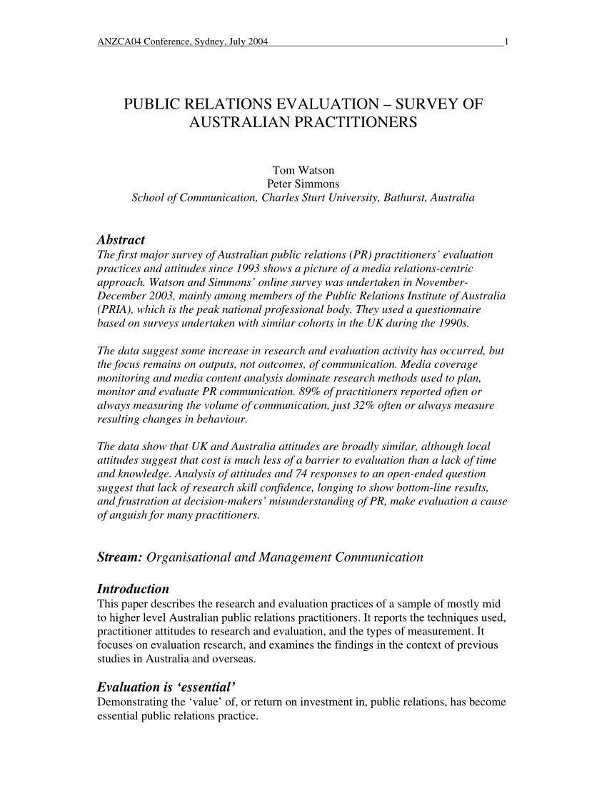 PDF PUBLIC RELATIONS EVALUATION SURVEY OF AUSTRALIAN PRACTITIONERS