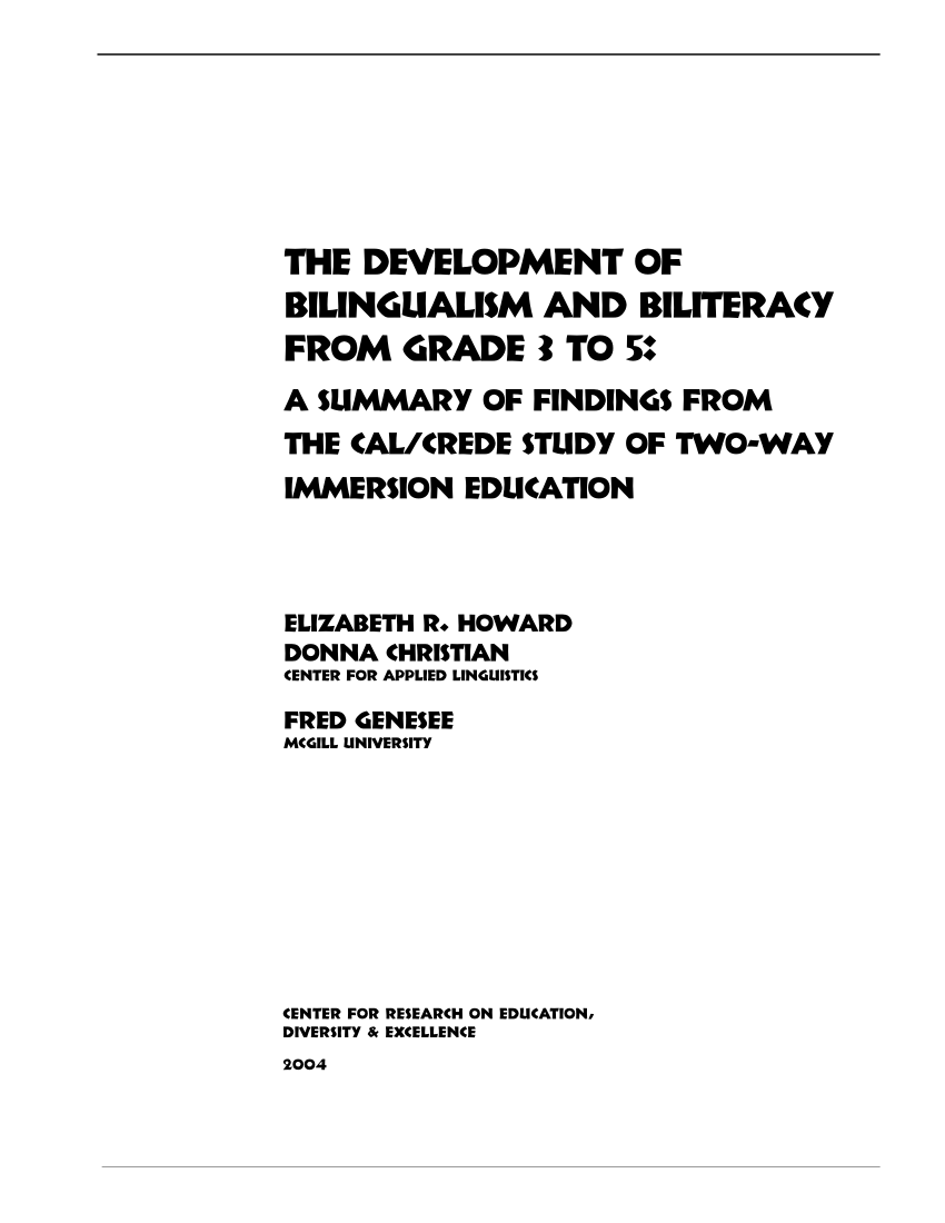 (PDF) The development of bilingualism and biliteracy from