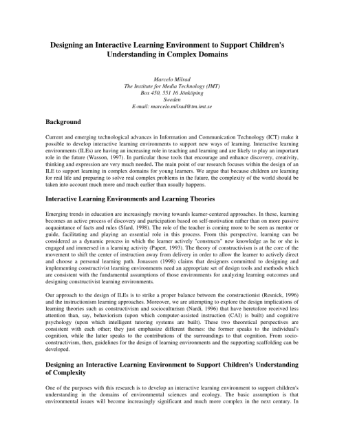 small resolution of PDF) Designing an Interactive Learning Environment to Support Children's  Understanding in Complex Domains