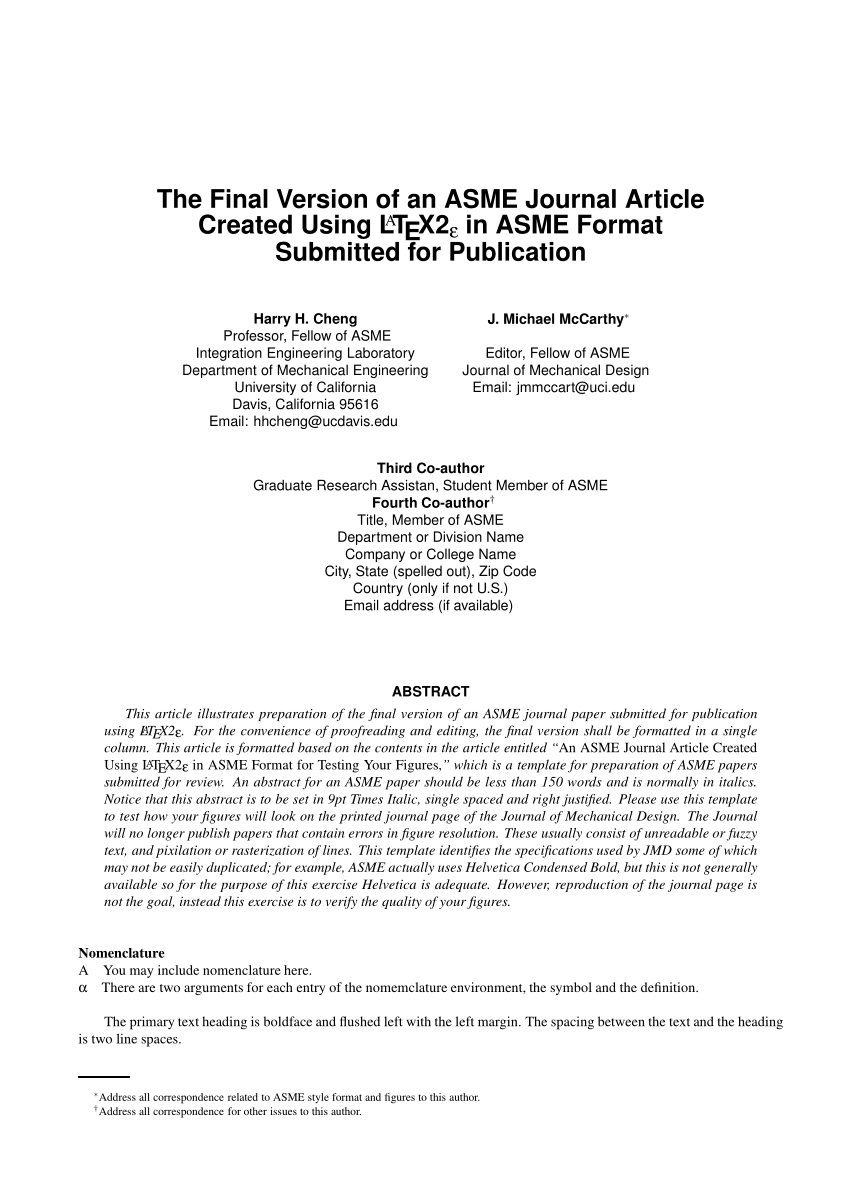 PDF The Final Version Of An ASME Journal Article Created