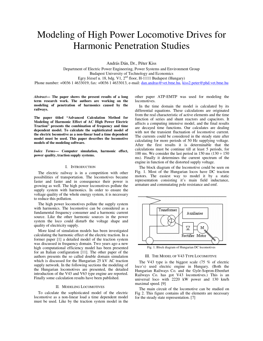 hight resolution of  pdf modeling of high power locomotive drives for harmonic penetration studies