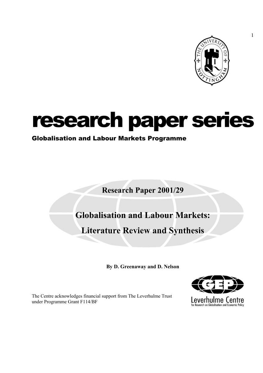 (PDF) Globalisation and Labour Markets: Literature Review