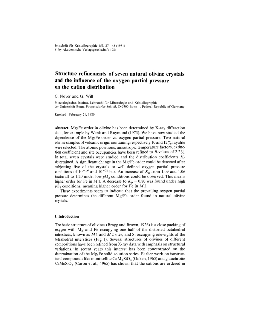 hight resolution of  pdf structure refinements of seven natural olivine crystals and the influence of the oxygen partial pressure on the cation distribution