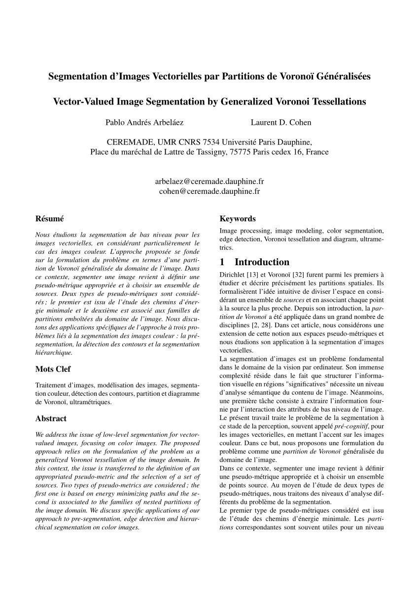 medium resolution of  pdf segmentation d images vectorielles par partitions de vorono g n ralis es vector valued image segmentation by generalized voronoi tessellations