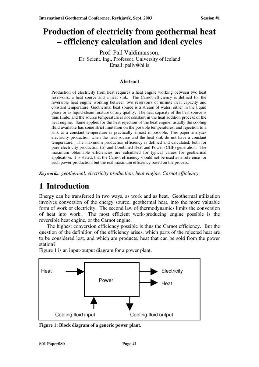 hight resolution of  pdf production of electricity from geothermal heat efficiency calculation and ideal cycles