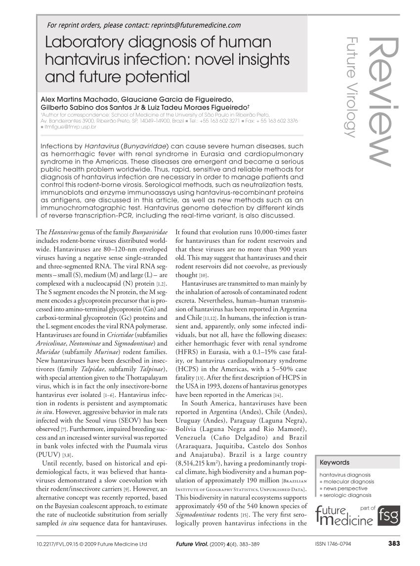 PDF) Laboratory diagnosis of human hantavirus infection: Novel ...