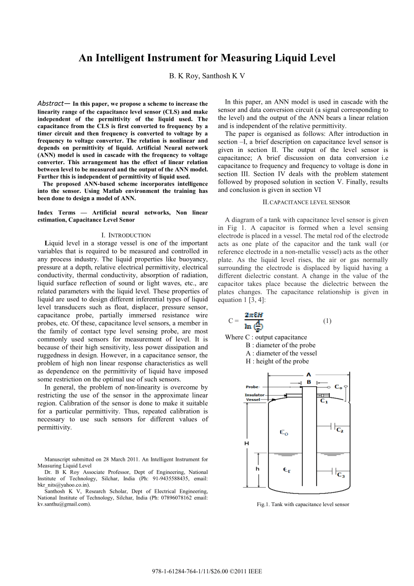 hight resolution of  pdf an intelligent instrument for measuring liquid level