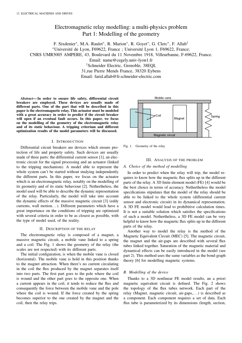hight resolution of  pdf electromagnetic relay modelling a multi physics problem part 1 modelling of the geometry