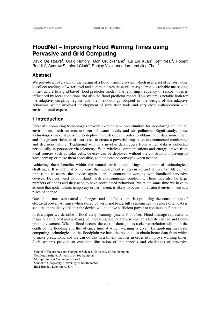 hight resolution of  pdf floodnet improving flood warning times using pervasive and grid computing