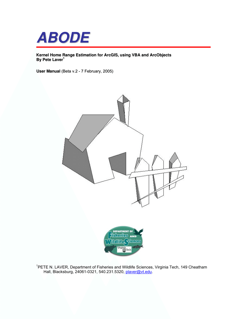 (PDF) ABODE: kernel home range estimation for ArcGIS