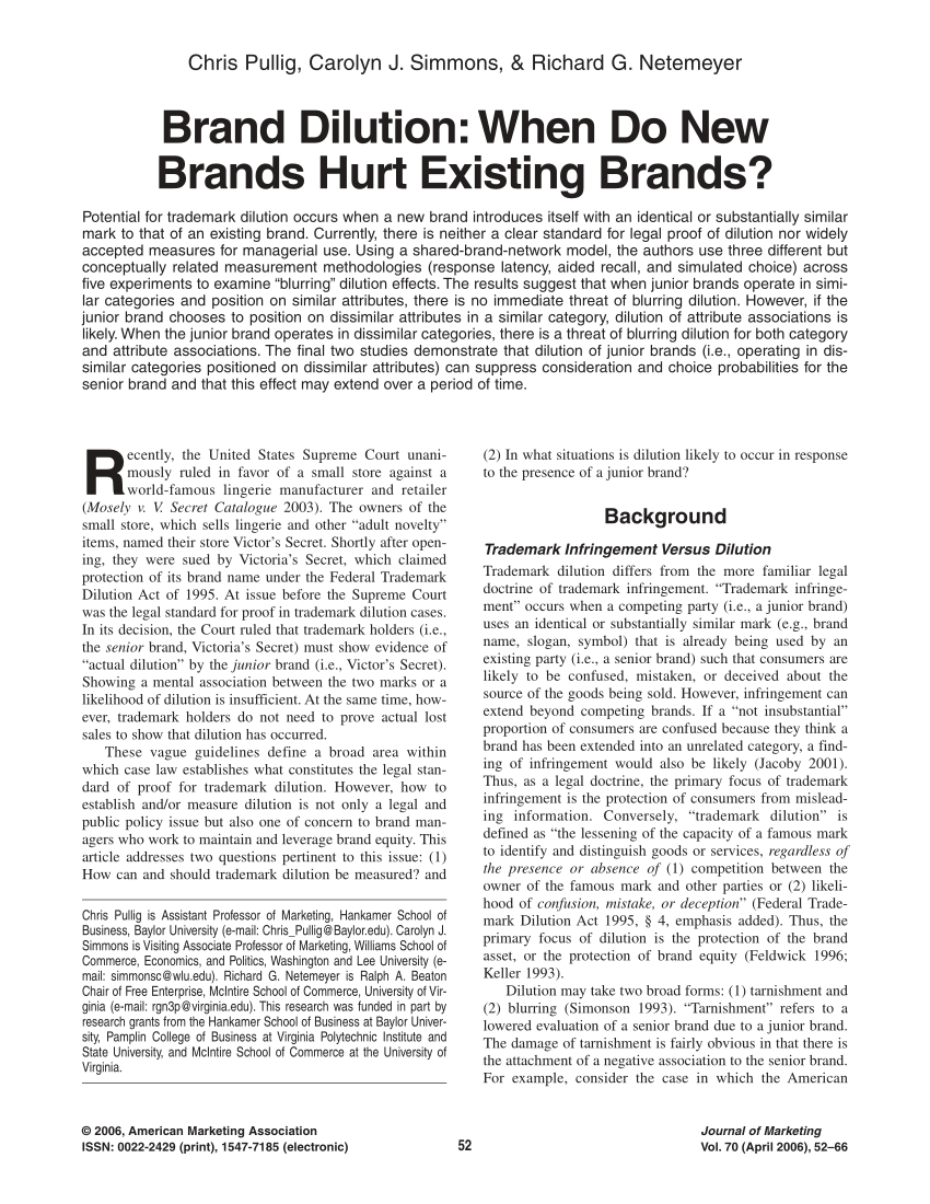 (PDF) Brand Dilution: When Do New Brands Hurt Existing Brands?