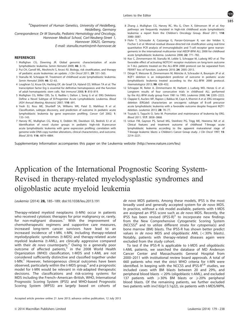 (PDF) Application of the International Prognostic Scoring