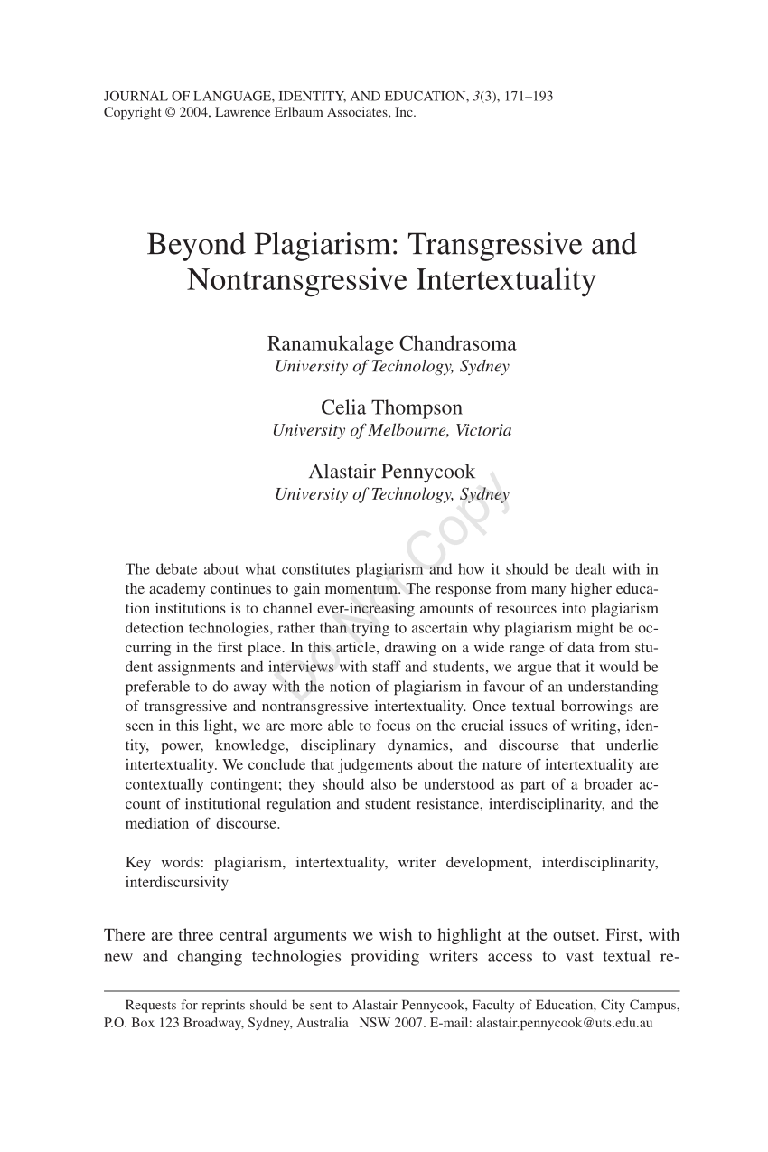 PDF Beyond Plagiarism Transgressive And Nontransgressive