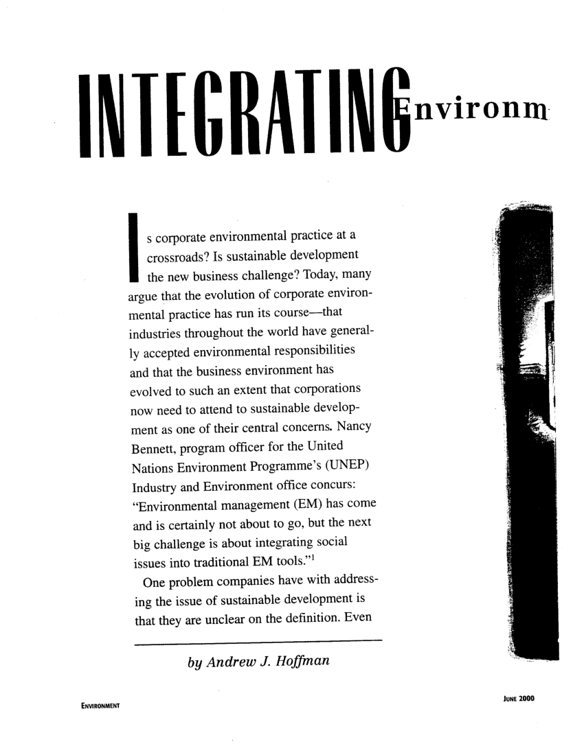 (PDF) Integrating Environmental and Social Issues into