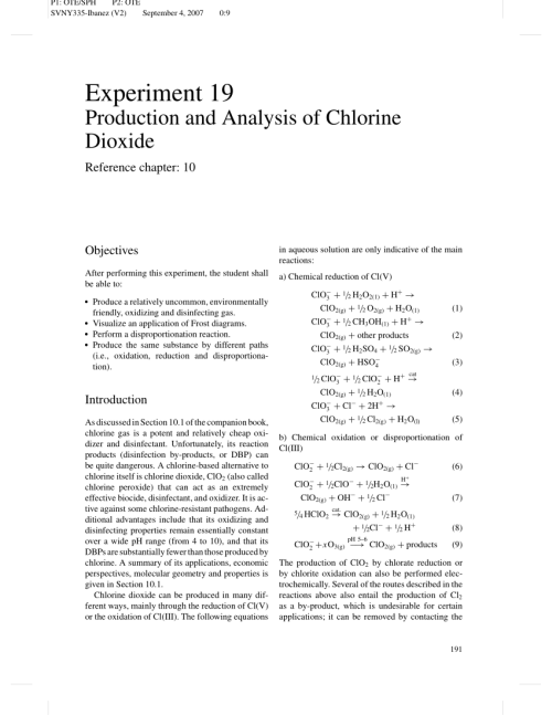 small resolution of  pdf production and analysis of chlorine dioxide