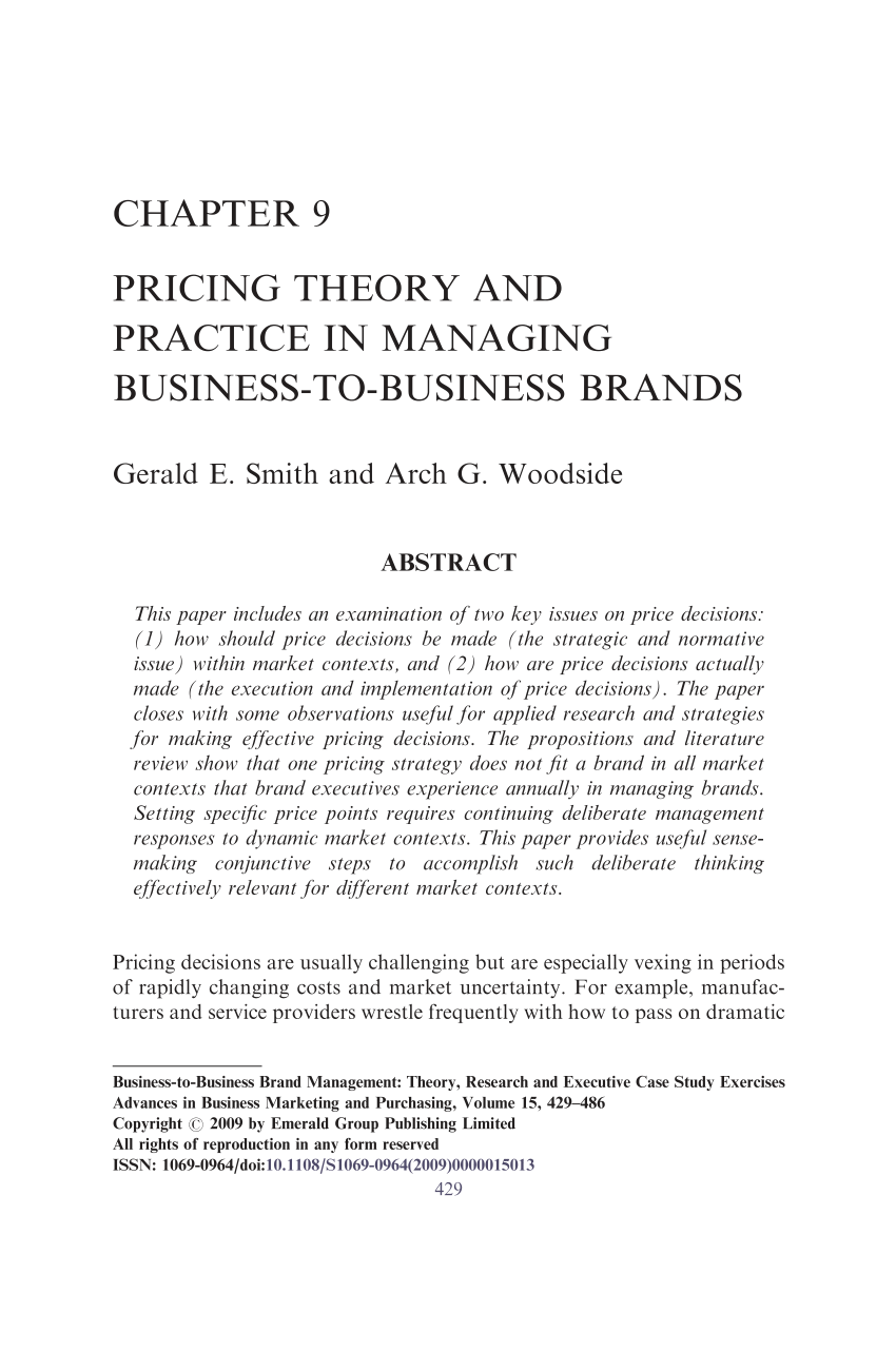 PDF Chapter 9 Pricing Theory And Practice In Managing