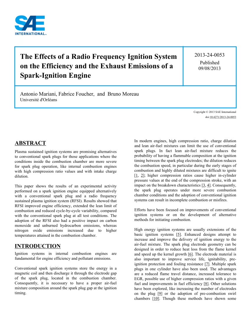 medium resolution of  pdf the effects of a radio frequency ignition system on the efficiency and the exhaust emissions of a spark ignition engine