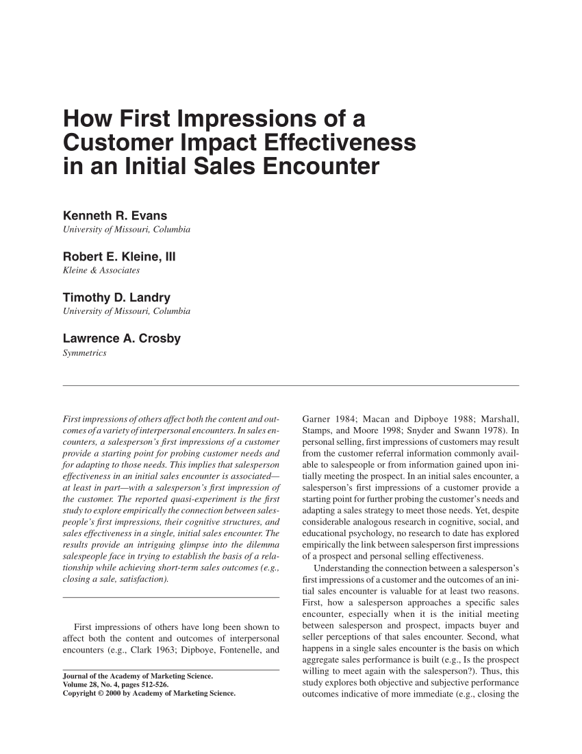 pdf how first impressions of a customer impact effectiveness in an initial sales encounter