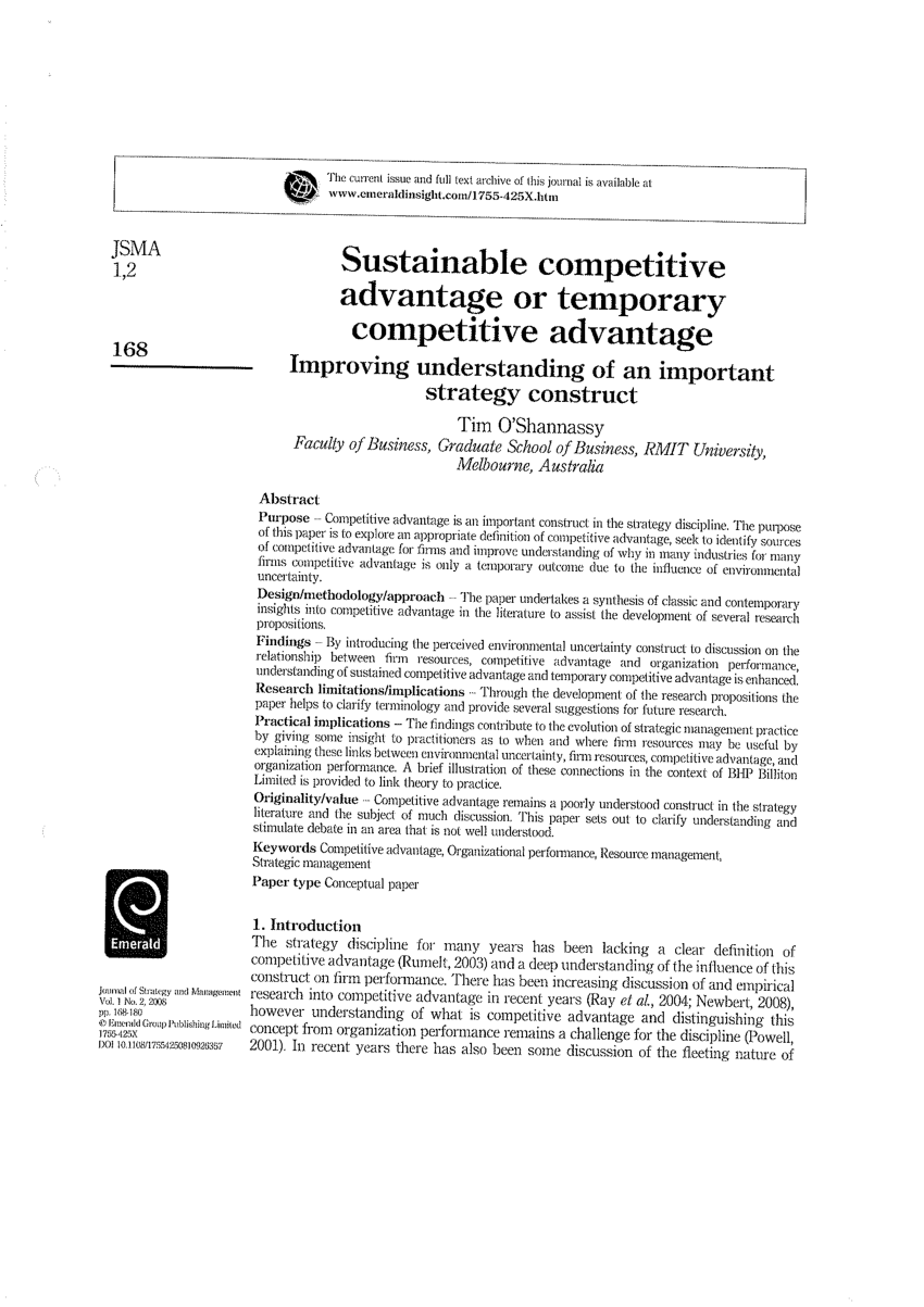 (PDF) Sustainable competitive advantage or temporary