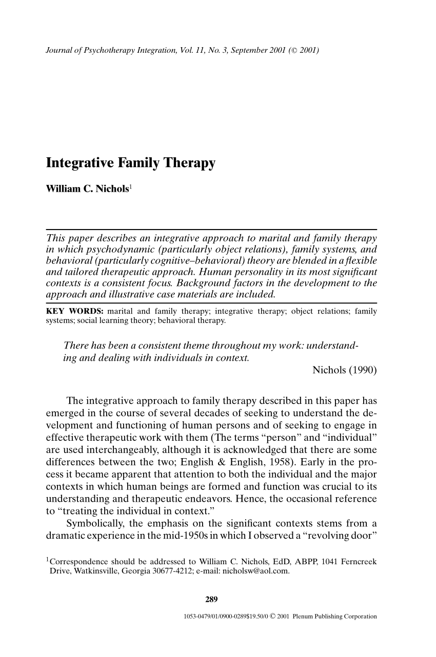 PDF Integrative Family Therapy