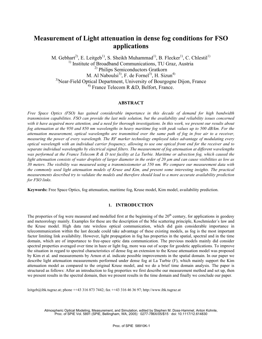 hight resolution of  pdf measurement of light attenuation in dense fog conditions for fso applications