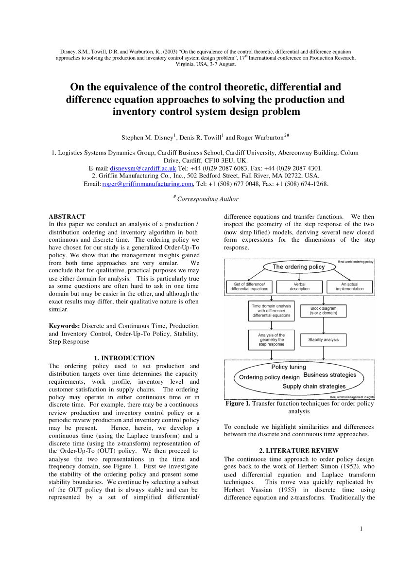 medium resolution of  pdf on the equivalence of the control theoretic differential and difference equation approaches to solving the production and inventory control system