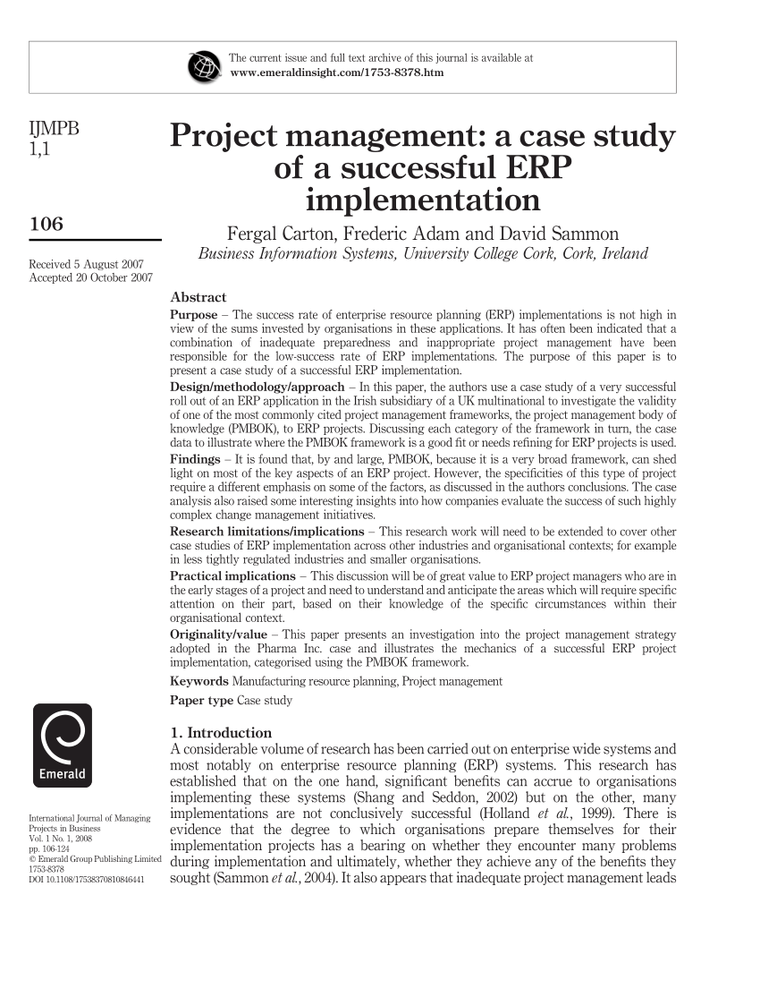 PDF Project Management A Case Study Of A Successful ERP