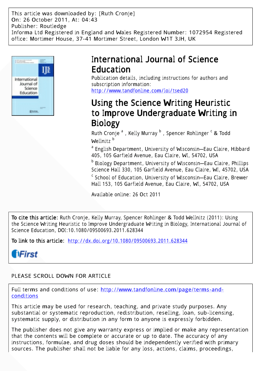 PDF Using The Science Writing Heuristic To Improve Undergraduate