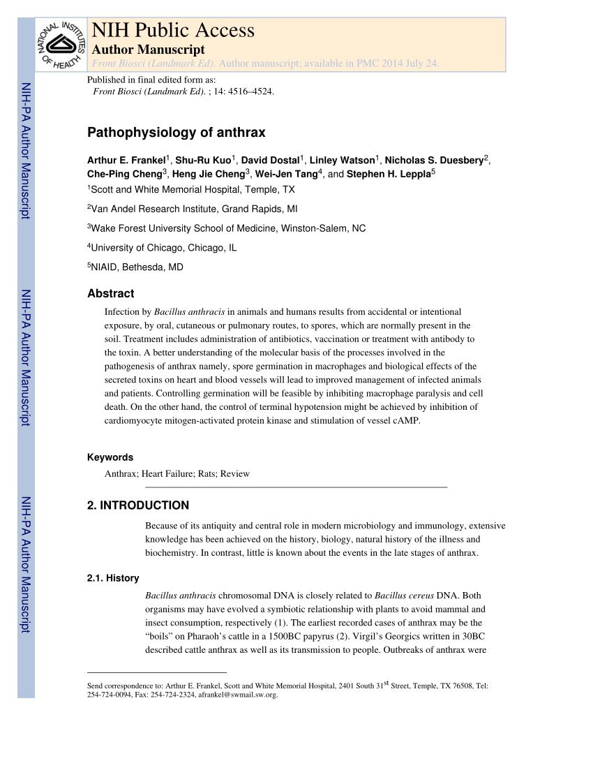 medium resolution of  pdf pathophysiology of anthrax