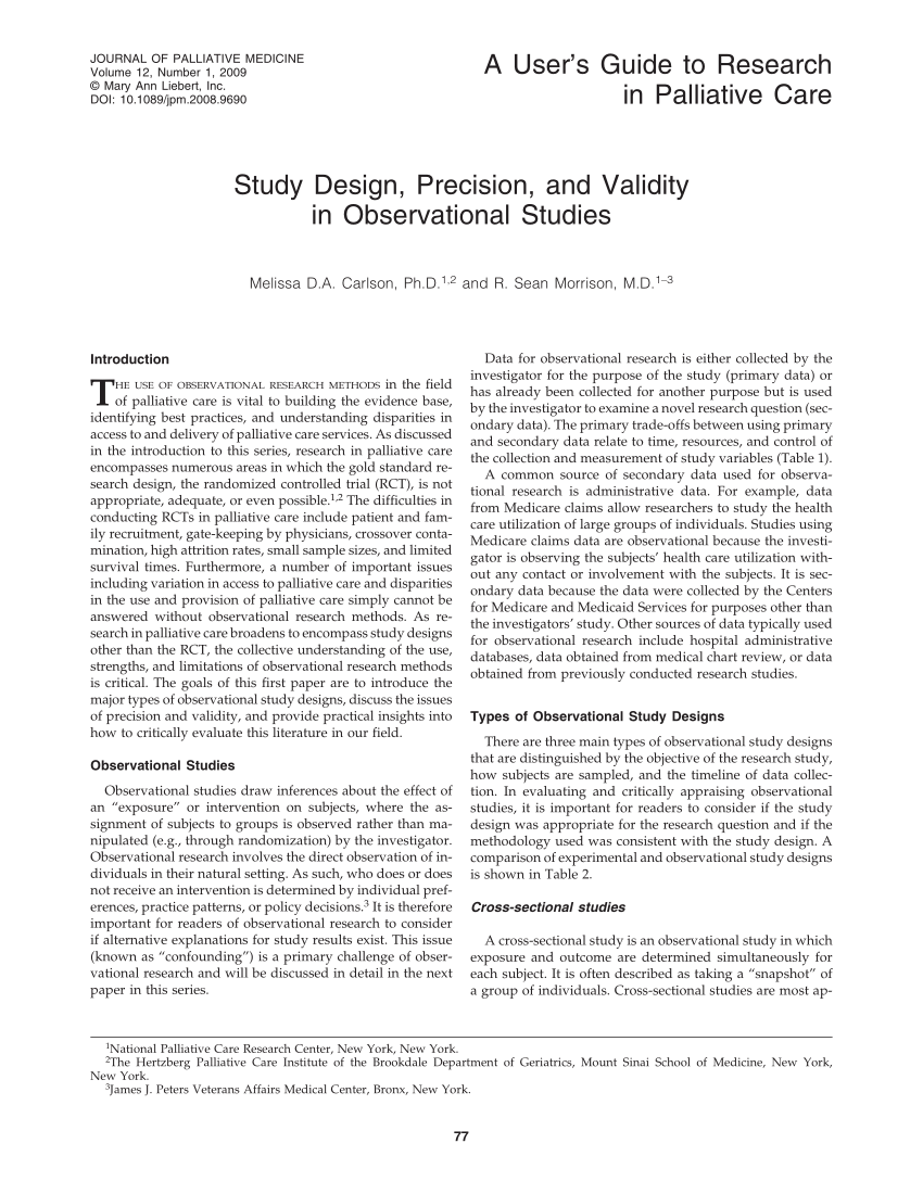 PDF Study Design Precision And Validity In Observational Studies