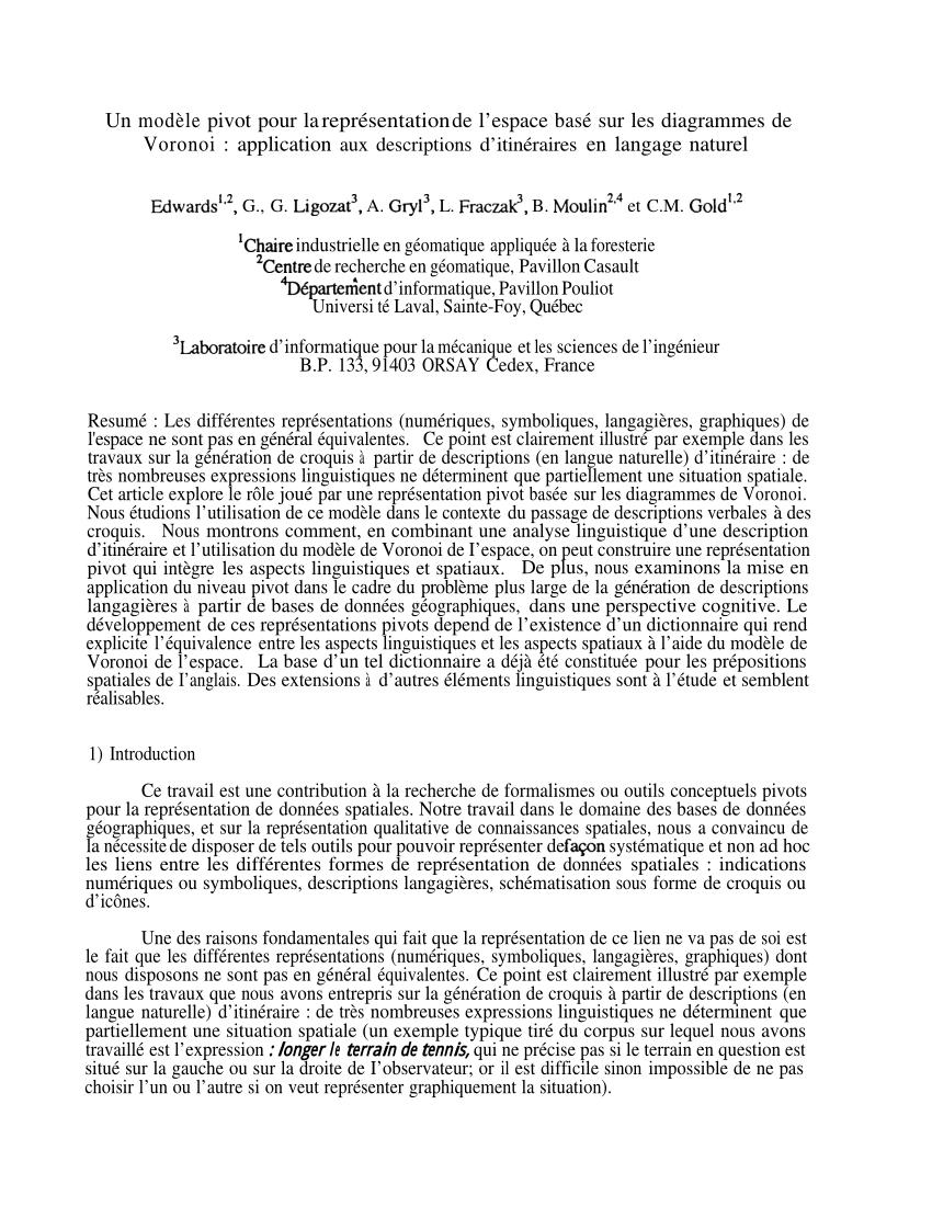medium resolution of  pdf un mod le pivot pour la repr sentation de l espace bas sur les diagrammes de voronoi application aux descriptions d itin raires en langage naturel