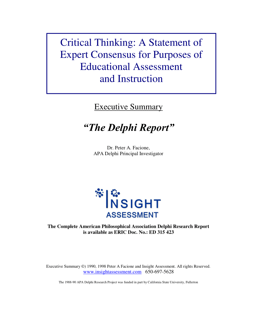 (Pdf) Critical Thinking: A Statement Of Expert Consensus For Purposes Of  Educational Assessment And Instruction