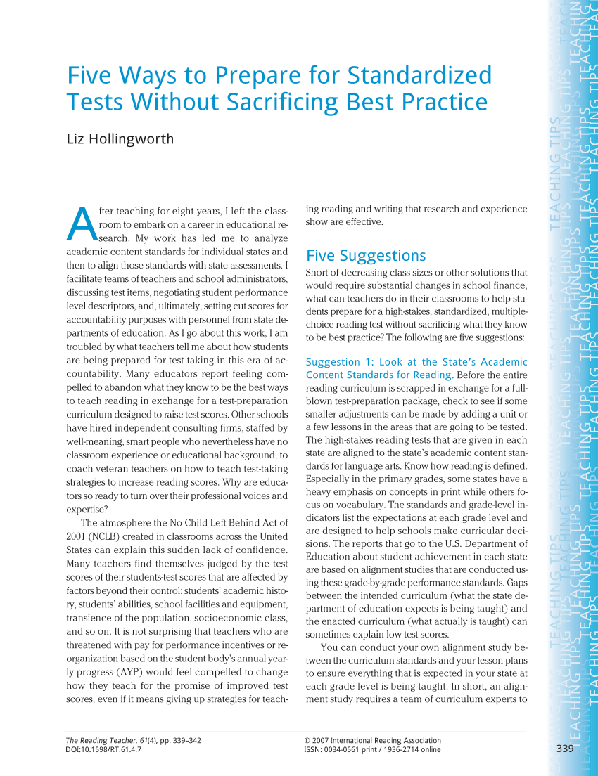 medium resolution of PDF) Five Ways to Prepare for Standardized Tests Without Sacrificing Best  Practice