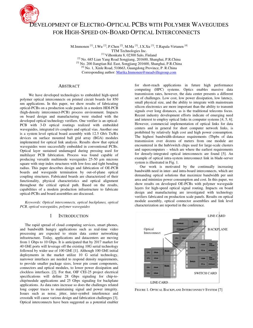 hight resolution of  pdf development of electro optical pcbs with polymer waveguides for high speed intra system interconnects