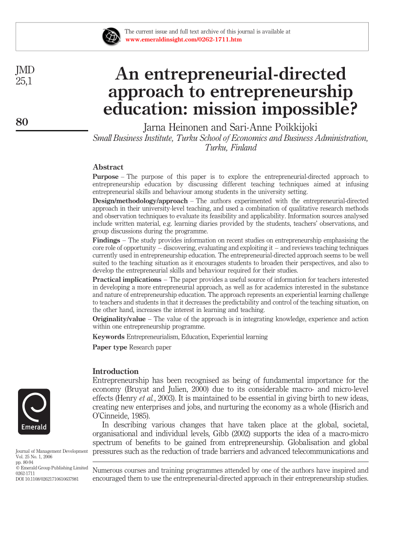 Pdf An Entrepreneurial Directed Approach To Entrepreneurship Education Mission Impossible