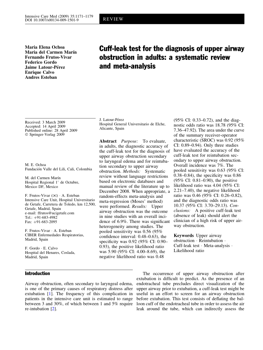 (PDF) Cuff-leak test for the diagnosis of upper airway