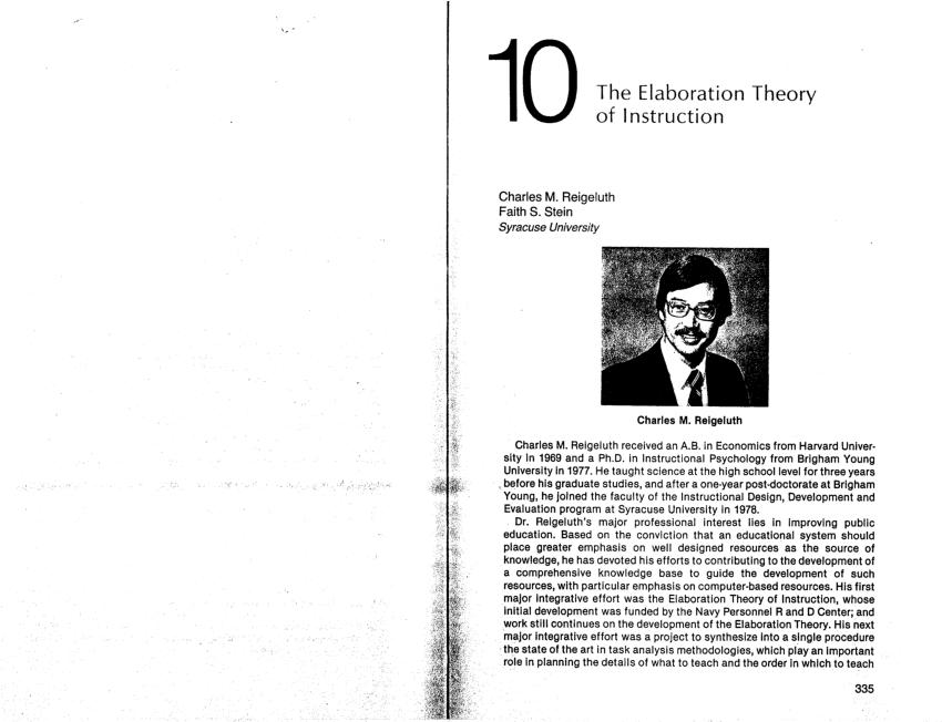 (PDF) The elaboration theory of instruction (19)