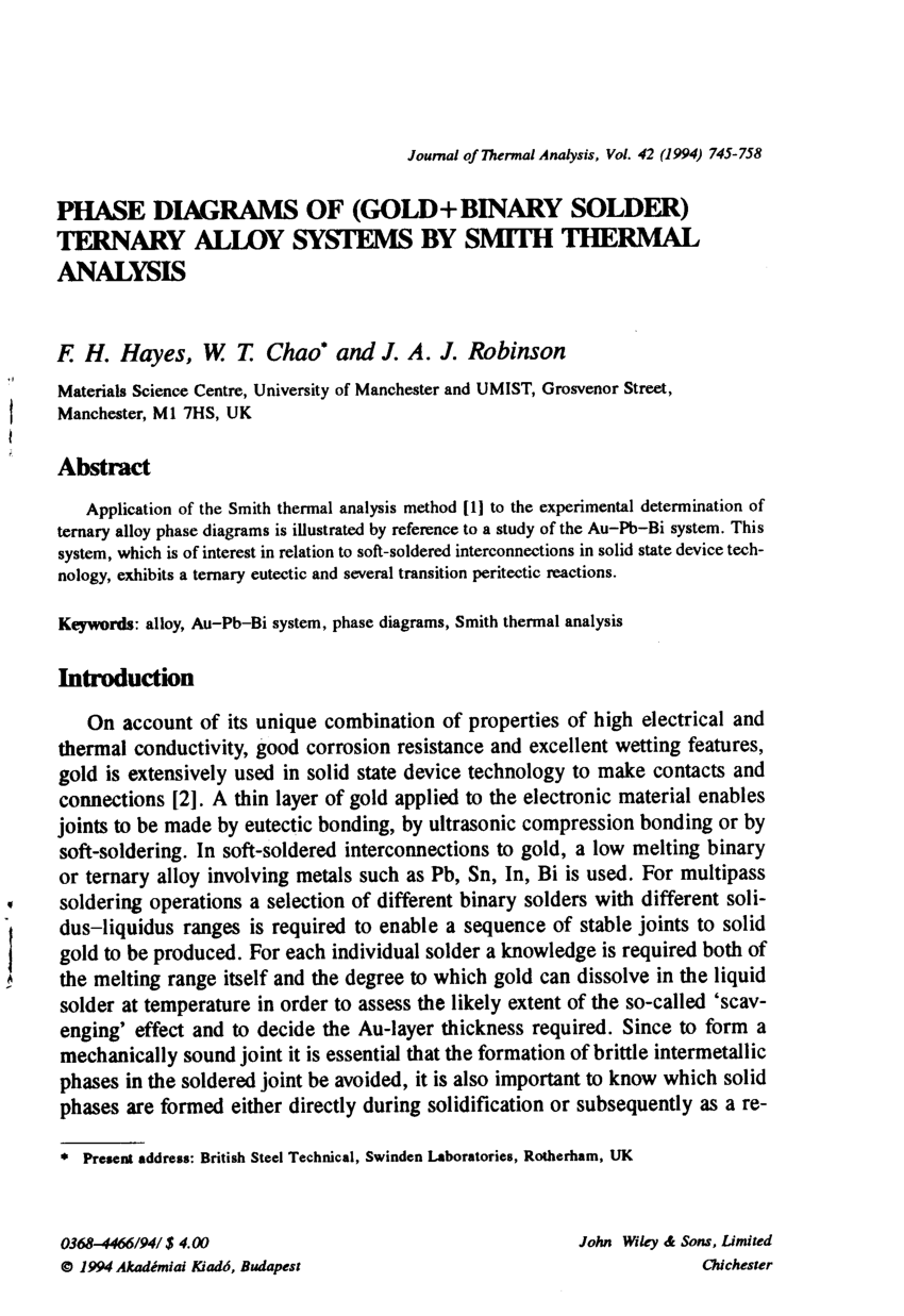 hight resolution of  pdf phase diagrams of gold binary solder ternary alloy systems by smith thermal analysis
