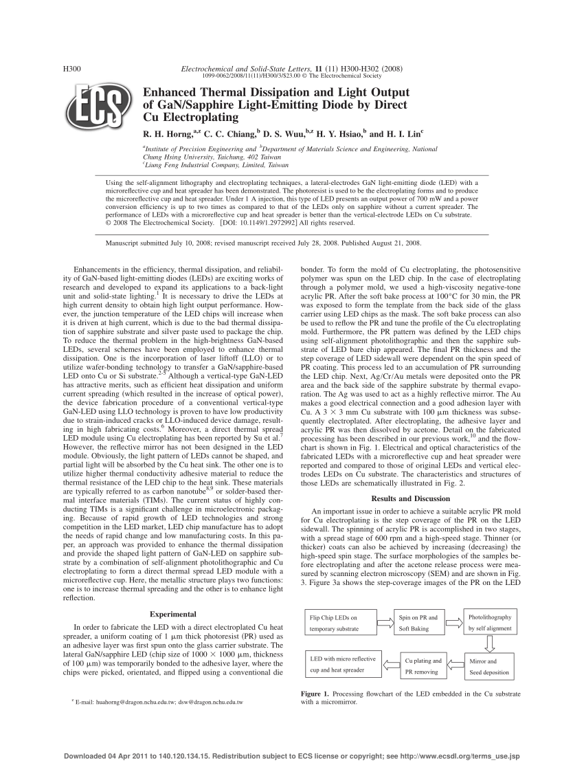 hight resolution of  pdf enhanced thermal dissipation and light output of gan sapphire light emitting diode by direct cu electroplating