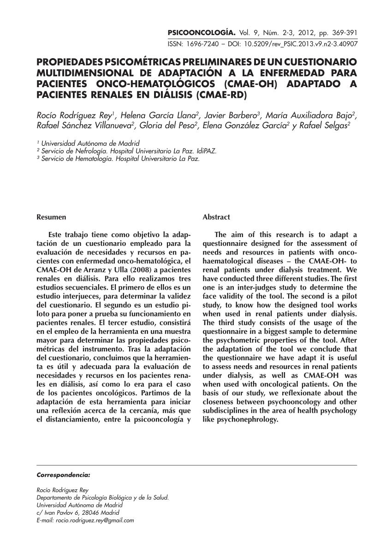 (Pdf) Incorporation Of A Psychologist Into A Nephrology Service: Criteria  And Process