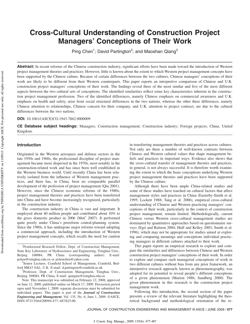 (PDF) Cross-Cultural Understanding of Construction Project Managers' Conceptions of Their Work