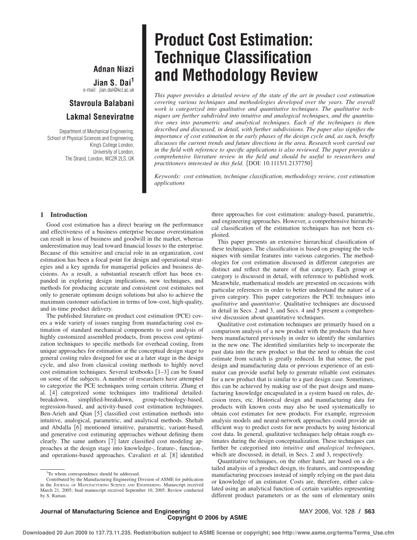 medium resolution of  pdf product cost estimation technique classification and methodology review