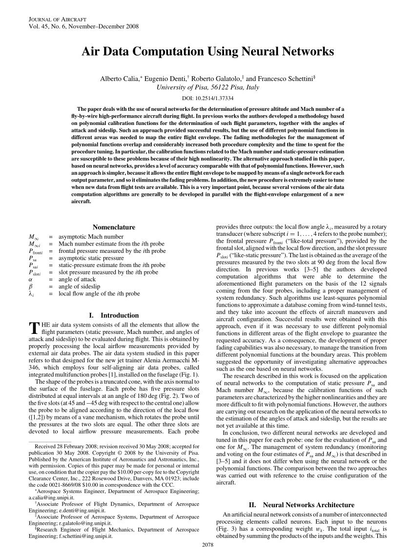 (PDF) Air Data Computation Using Neural Networks