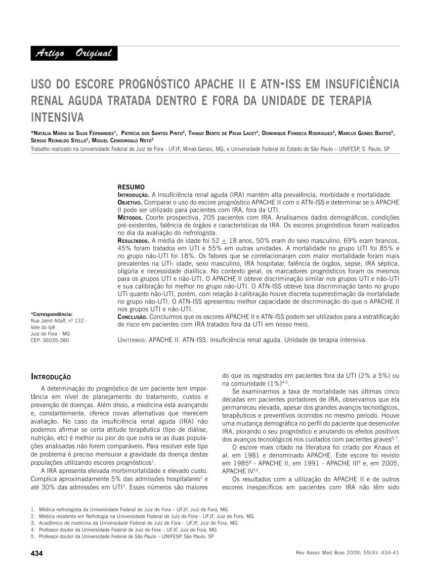 escore prognostico sofa sofas londonderry pdf uso do apache ii e atn iss em insuficiencia renal aguda tratada dentro fora da unidade de terapia intensiva