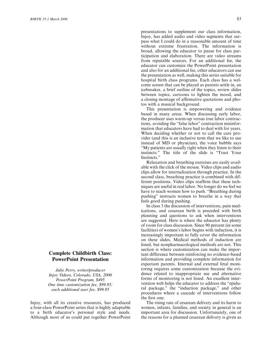 (PDF) Complete Childbirth Class: PowerPoint Presentation