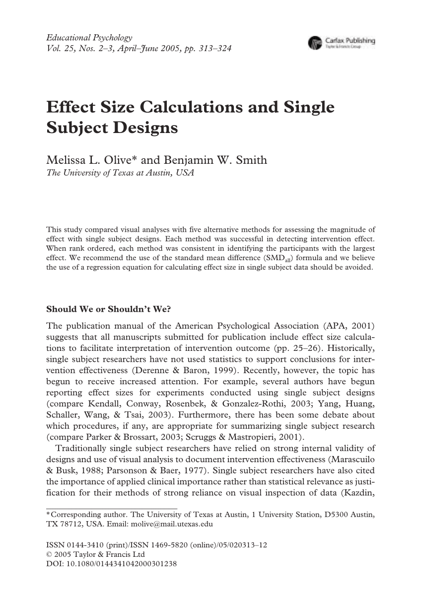 PDF Effect Size Calculations And Single Subject Designs