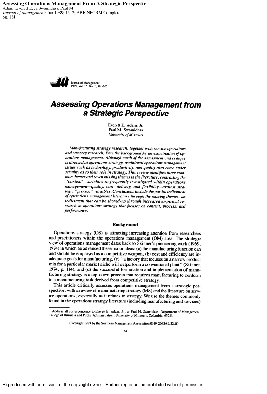 (PDF) Assessing Operations Management from a Strategic