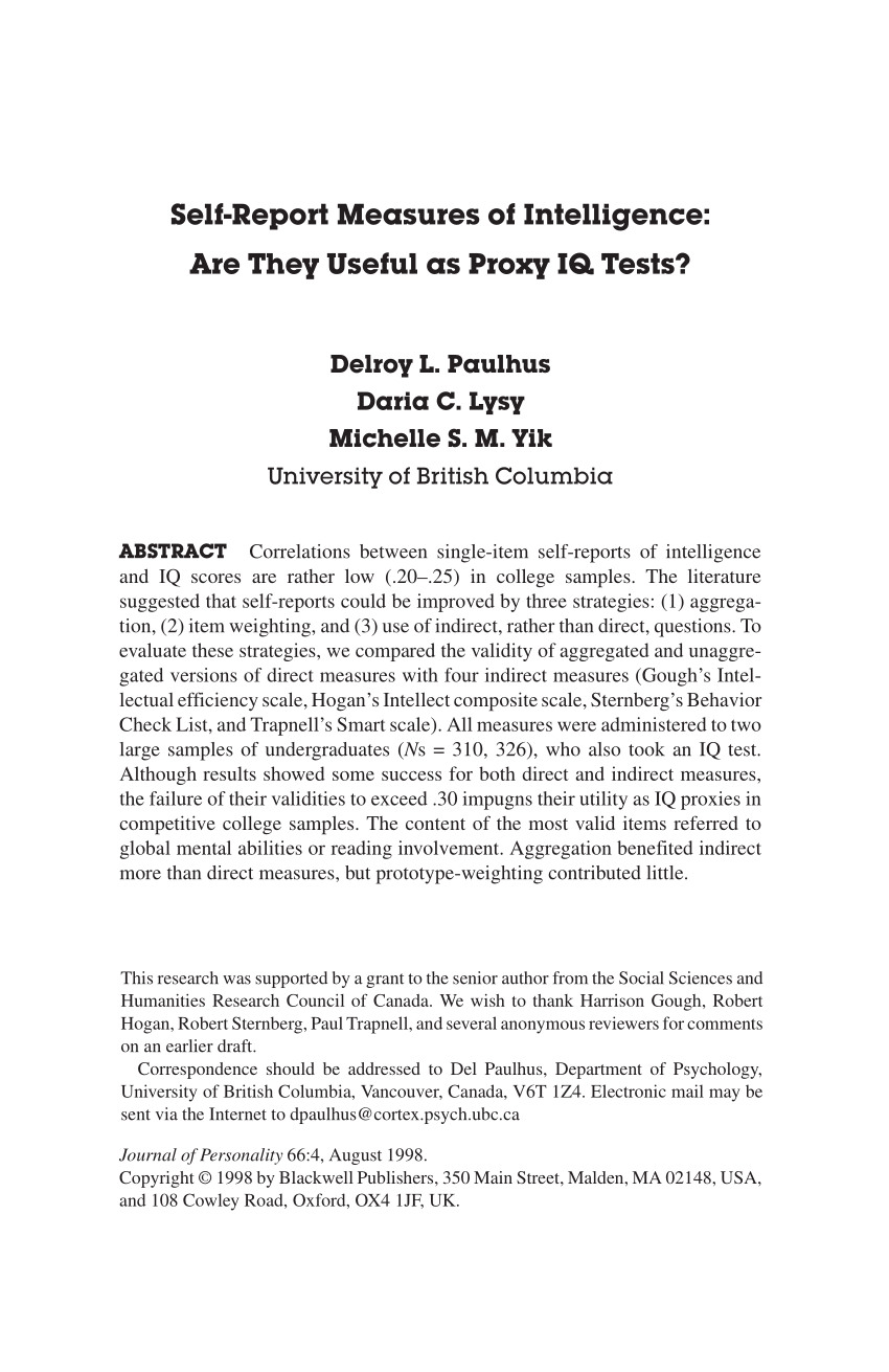 (Pdf) Self-Report Measures Of Intelligence: Are They Useful As Proxy Iq  Tests?