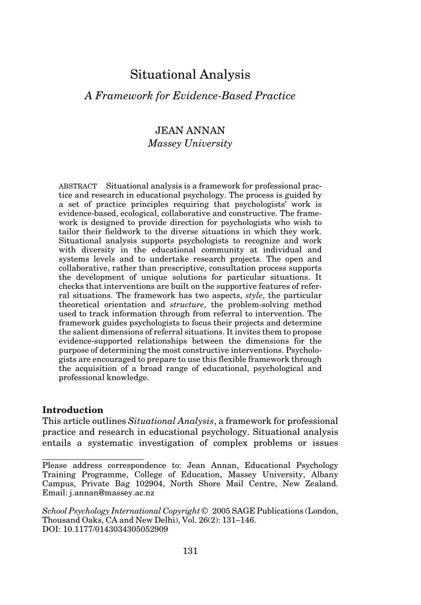 PDF Situational Analysis A Framework For Evidence Based